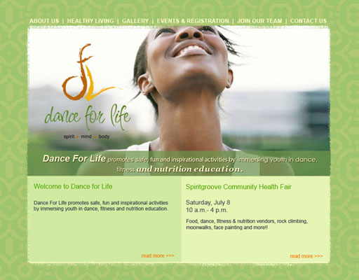Dance For Life Website Design (2007)