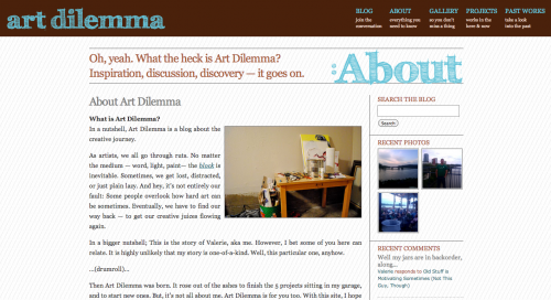 Art Dilemma Website Design (2010)
